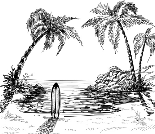easy to draw beach scene beach landscape drawing at getdrawings free download to easy draw scene beach