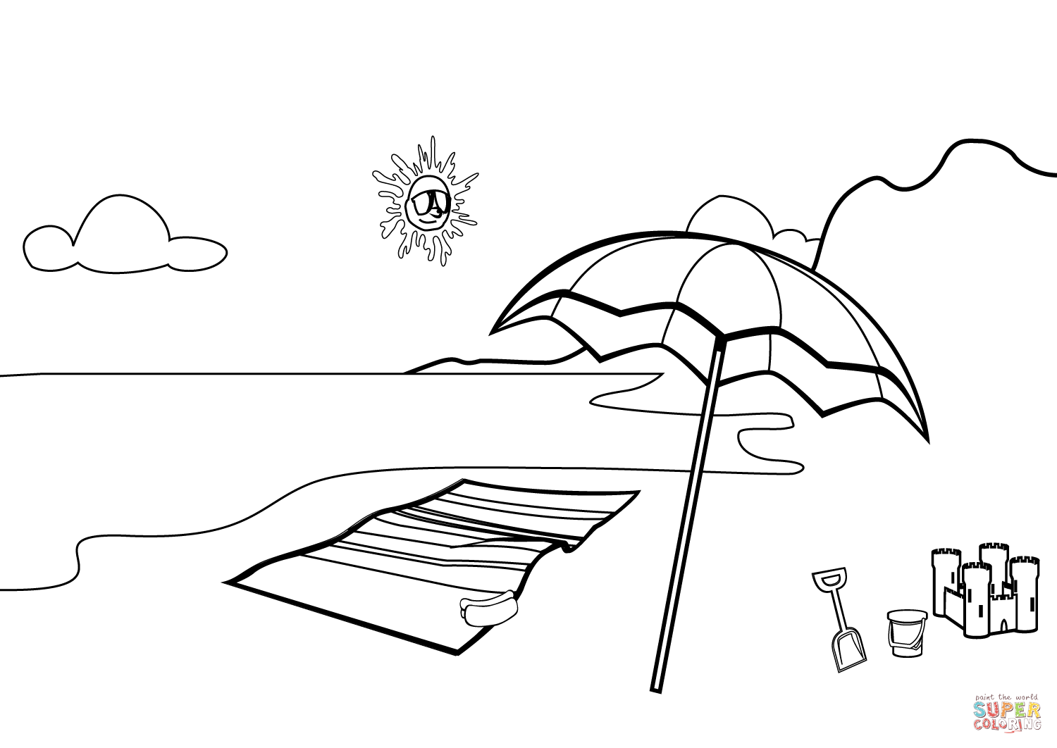 easy to draw beach scene ocean or sea beach with waves sketch black and white beach scene to easy draw