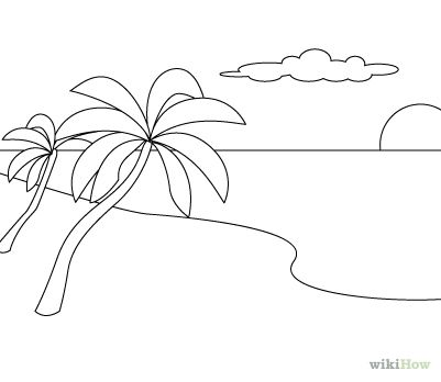 easy to draw beach scene scenery cartoon drawing at getdrawings free download easy scene beach draw to