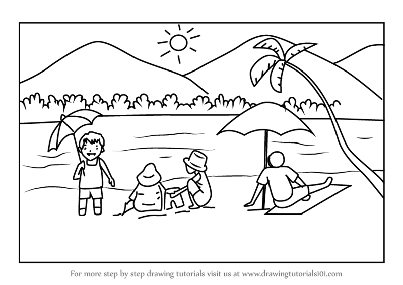 easy to draw beach scene simple beach drawing at getdrawings free download to beach easy scene draw