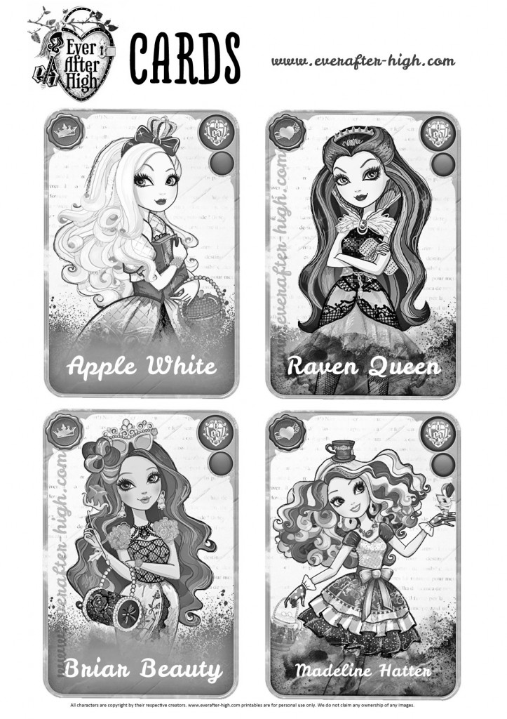 ever after high pictures ever after high character cards coloring pages ever after pictures ever high