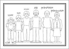 family members coloring worksheets extended family clipart black and white 4 clipart station coloring members family worksheets