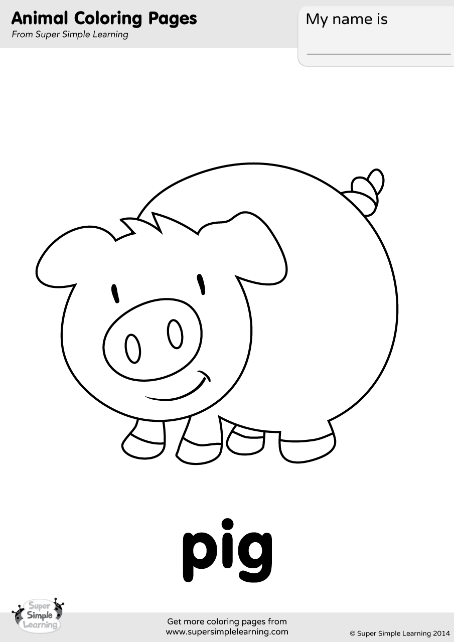 farm animals for coloring pig coloring page super simple farm animals coloring for