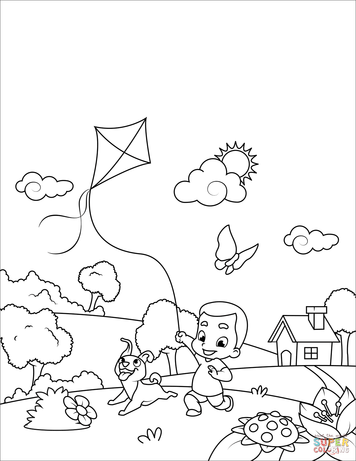 fly a kite coloring music coloring pages for kids sketch coloring page a coloring fly kite