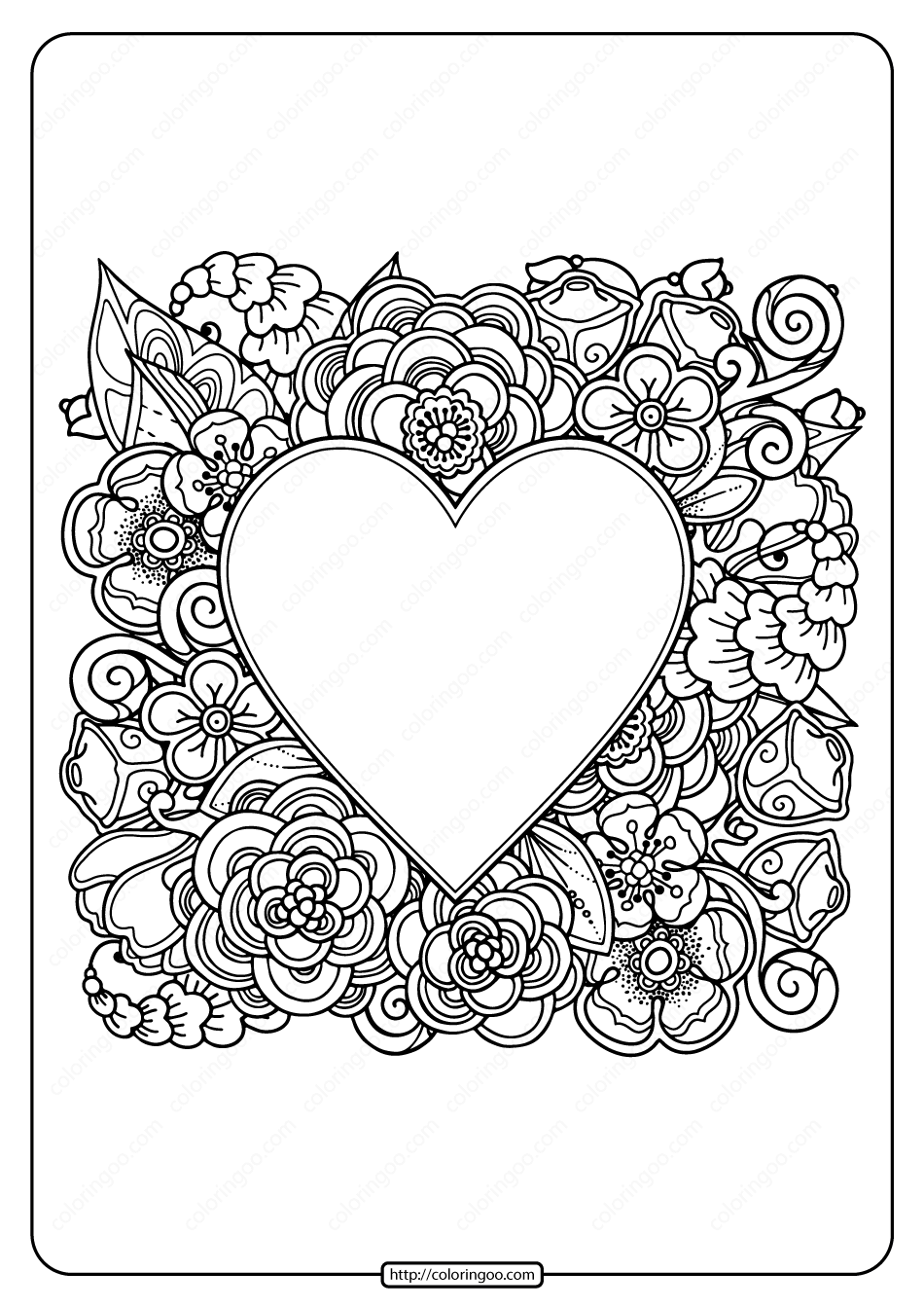 free heart coloring pages free printable heart with flowers pdf coloring page heart coloring pages free