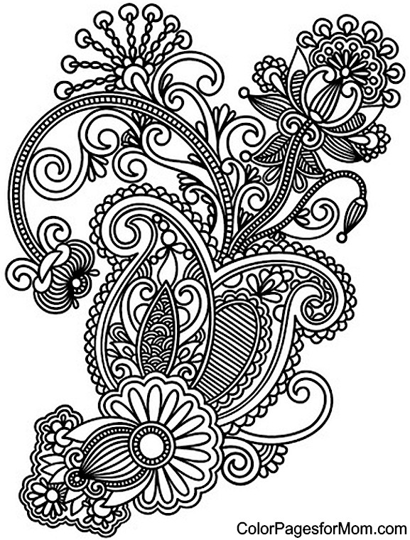 free printable paisley coloring pages paisley flower printable adult coloring page from coloring pages paisley printable free