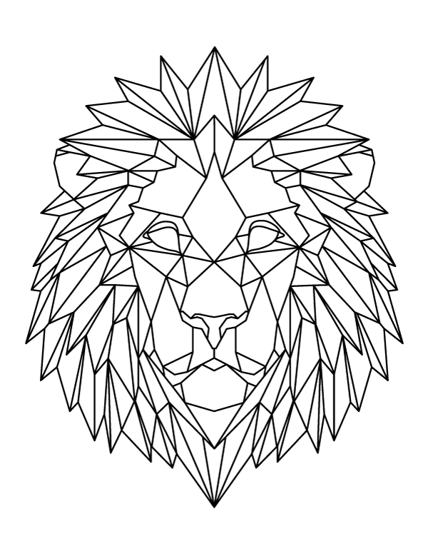geometric lion coloring page printable roaring geometric lion coloring page page lion geometric coloring