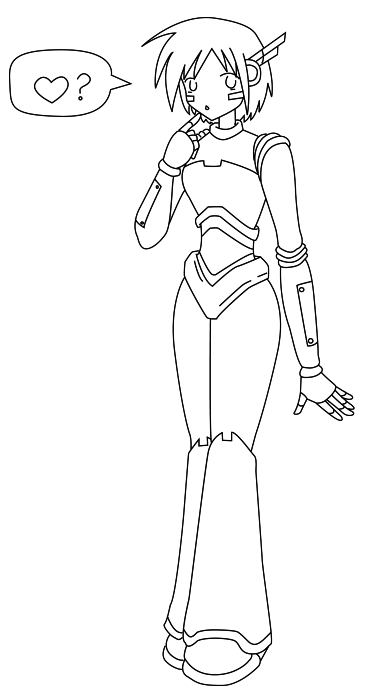 girl robot coloring pages cartoon clipart of a black and white robot girl facing girl pages coloring robot