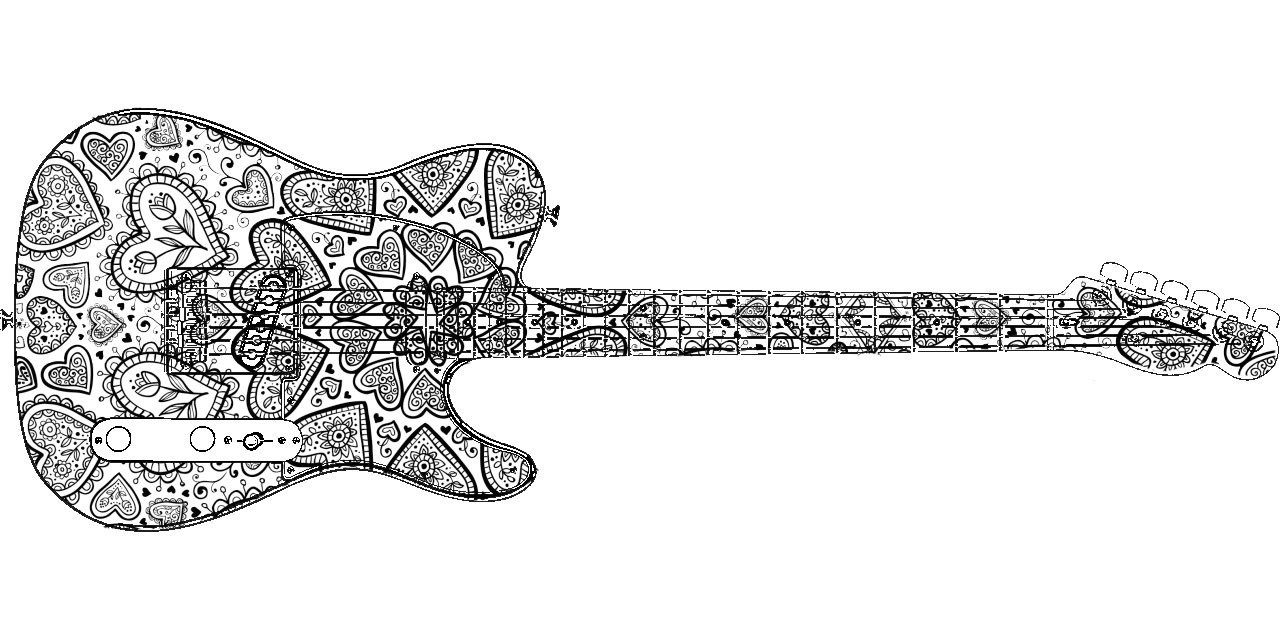 guitar coloring pages guitar line drawing at getdrawings free download pages coloring guitar