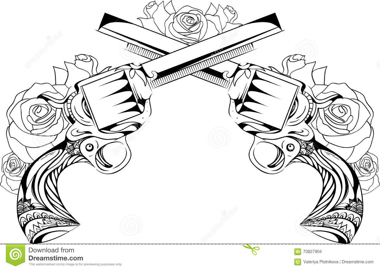 guns n roses coloring pages vector vintage illustration of two revolvers with roses coloring pages roses guns n