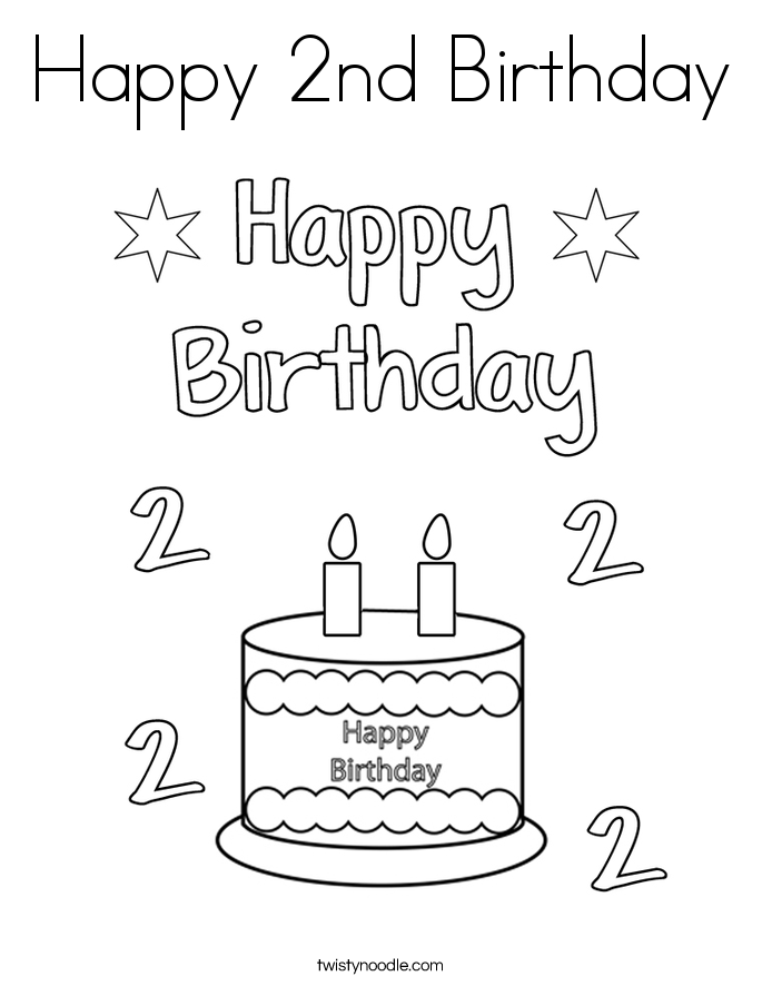 happy 2nd birthday coloring pages 2nd birthday cake coloring page for kids holiday coloring happy pages coloring 2nd birthday