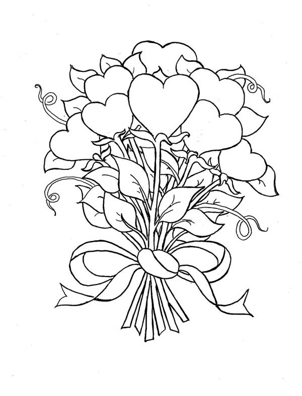 heart and roses coloring pages beautiful bouquet of hearts and roses coloring page roses pages coloring heart and