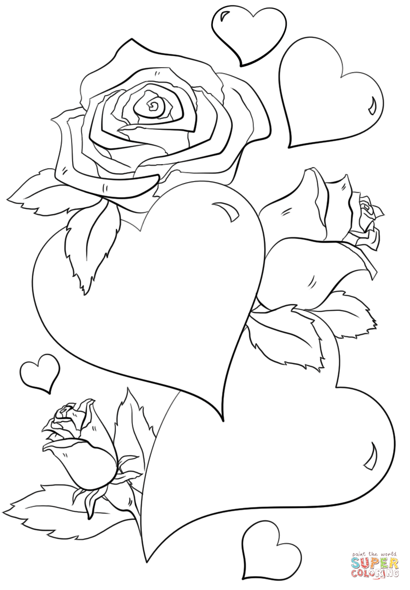 heart and roses coloring pages free printable heart coloring pages for kids coloring pages and heart roses