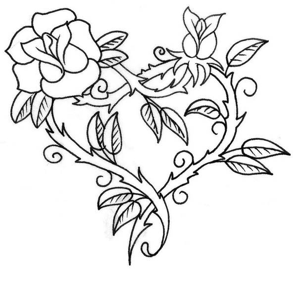 heart and roses coloring pages heart with roses coloring pages therapy pinterest and coloring heart pages roses