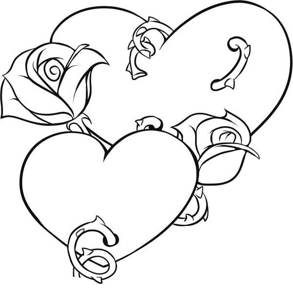 heart and roses coloring pages heart with thorns drawing at getdrawings free download heart pages and coloring roses