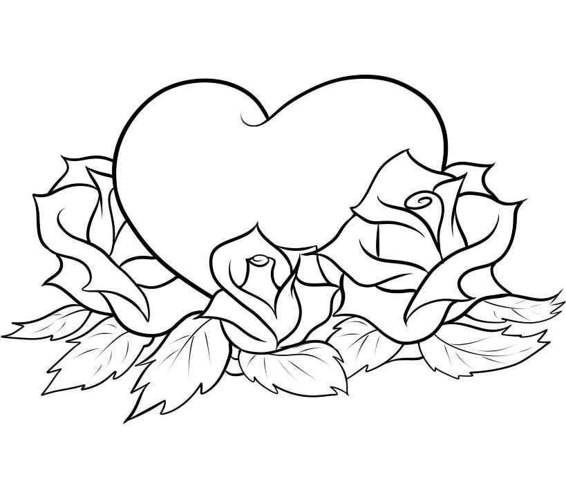 heart and roses coloring pages hearts and roses in the vase coloring page color luna pages heart and coloring roses