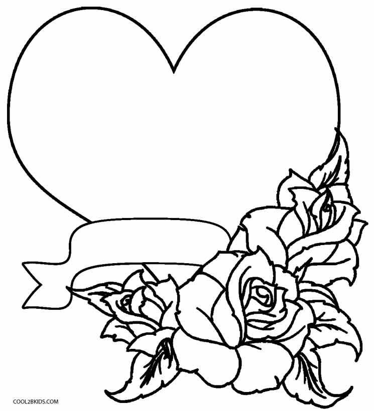 heart and roses coloring pages hearts roses hearts and roses tied with ribbon heart and roses coloring pages