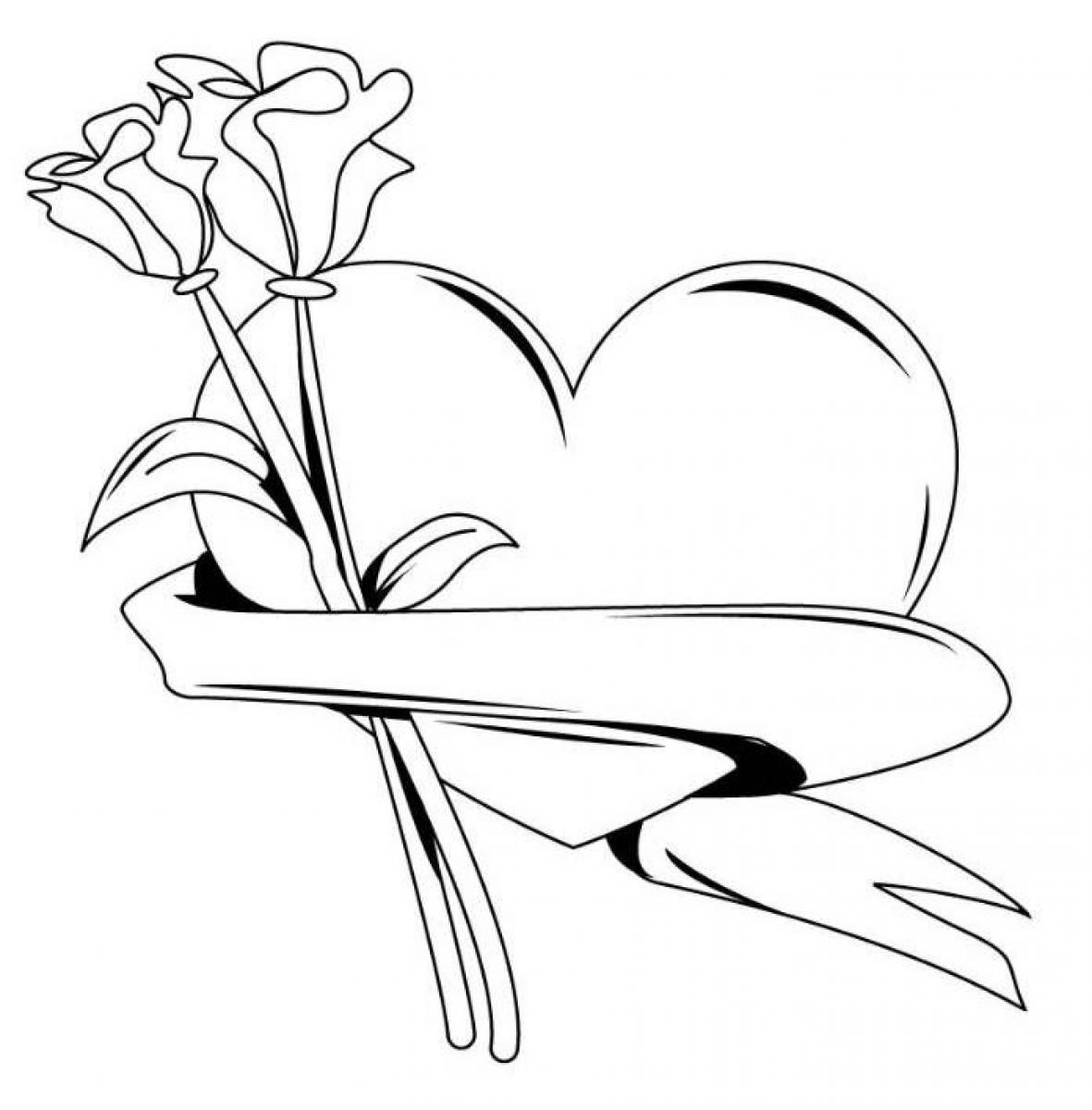 heart and roses coloring pages roses and hearts coloring pages coloring home pages coloring heart roses and