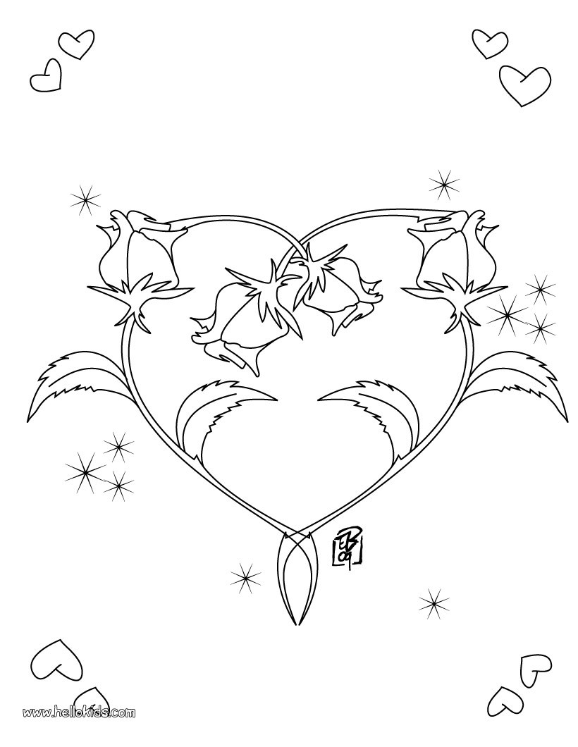 heart and roses coloring pages valentine39s day coloring pages roses heart shape coloring heart and pages roses
