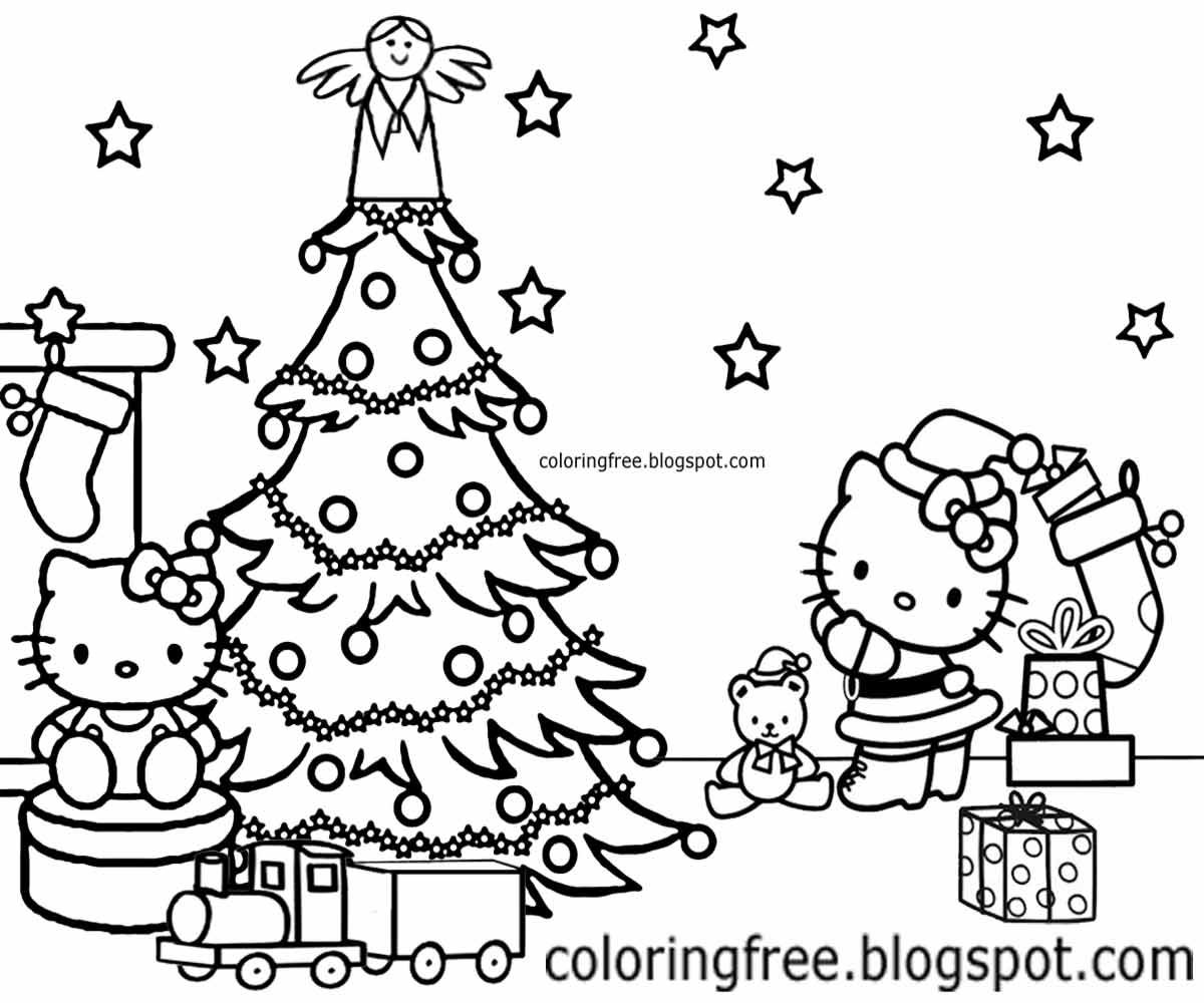 hello kitty christmas coloring pictures christmas tree coloring and sketch drawing pages kitty pictures hello christmas coloring