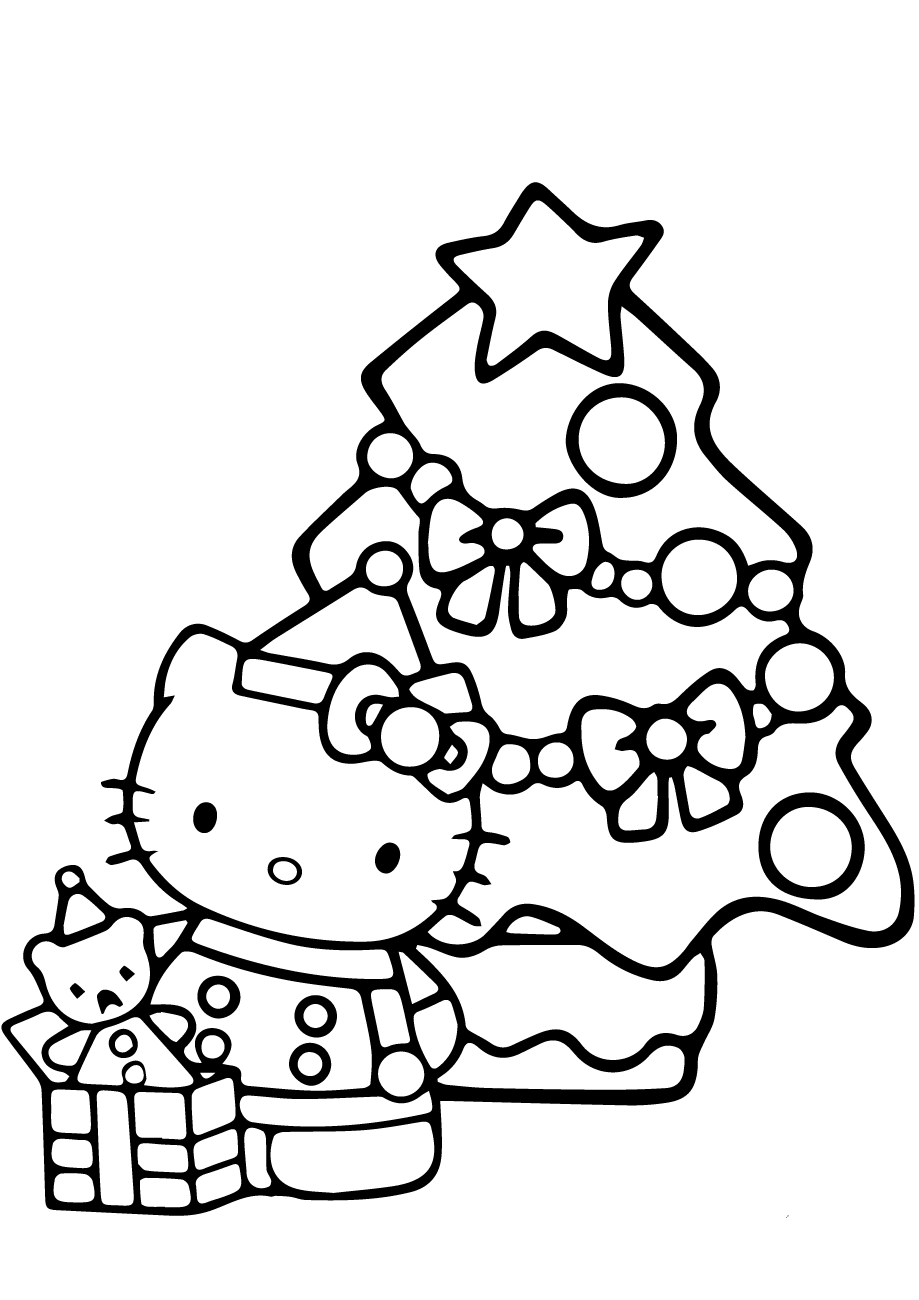 hello kitty christmas colouring pages kitty and christmas tree coloring page free printable christmas kitty pages colouring hello