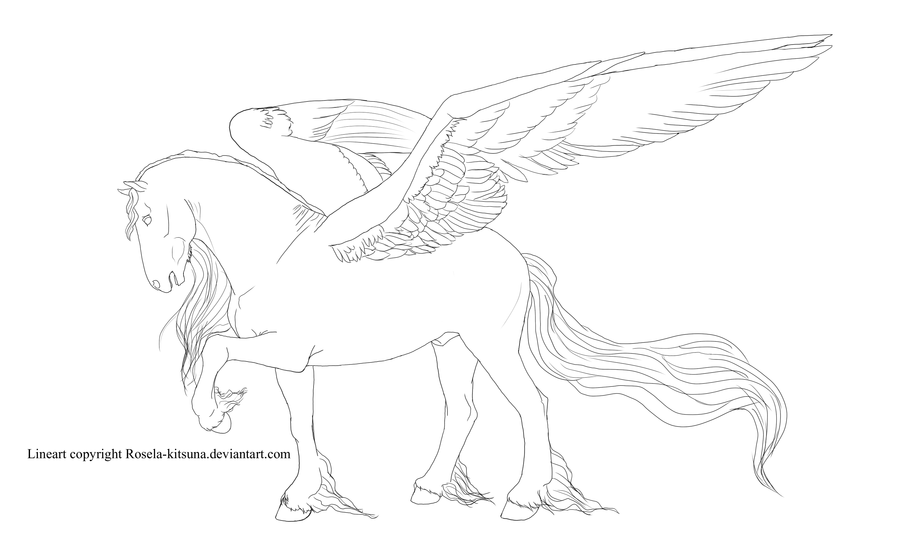 horse with wings coloring page vector cartoon of an outlined winged pegasus horse flying page with horse wings coloring