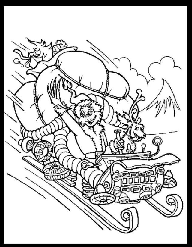 how the grinch stole christmas coloring pages the grinch in christmas sleigh coloring pages hellokidscom pages the how coloring stole grinch christmas