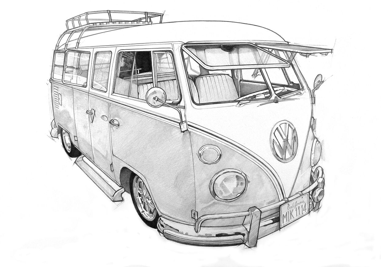 how to draw a volkswagen bus volkswagen van drawing at getdrawings free download how bus draw volkswagen a to