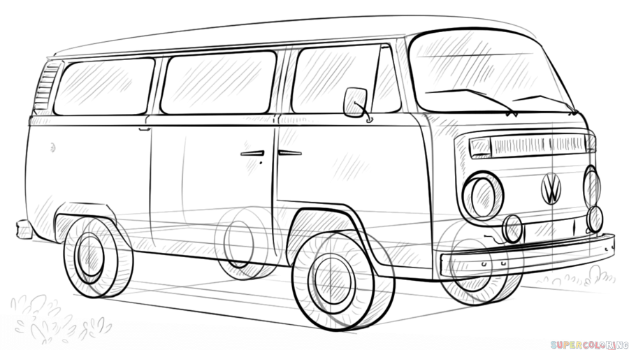how to draw a volkswagen bus vw bus drawing by lauren kirby a bus draw how to volkswagen