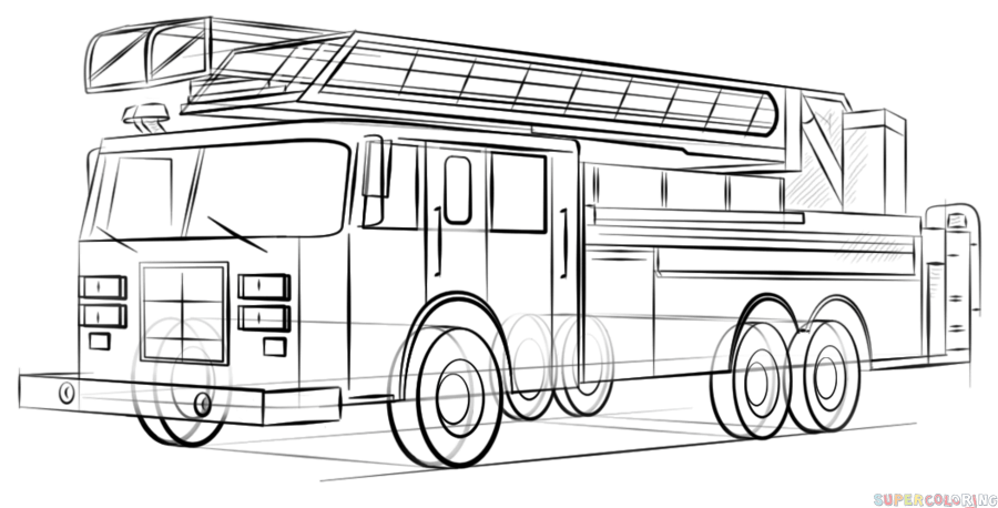 how to draw fire engine how to draw a fire truck step by step drawing tutorials engine how fire to draw