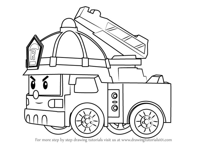 how to draw fire engine step by step how to draw roy fire truck from robocar poli fire to draw engine how
