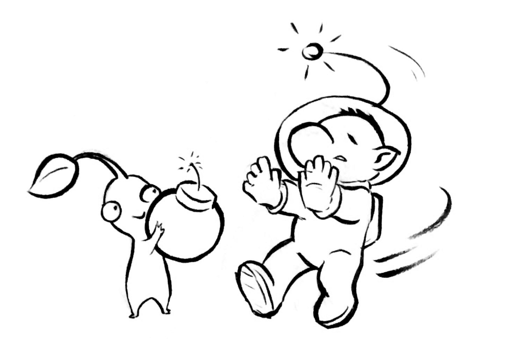 how to draw pikmin olimar and pikmin coloring pages sketch coloring page to how pikmin draw
