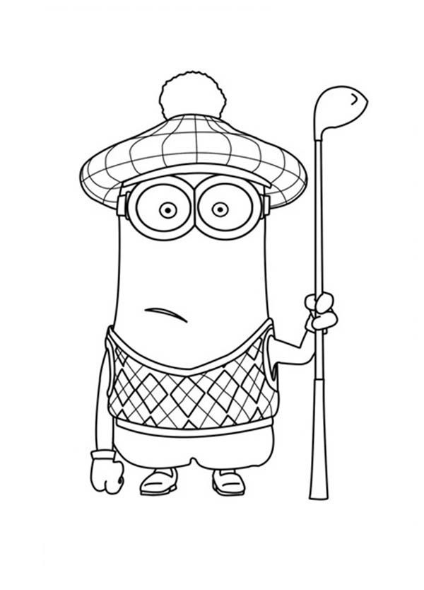 kevin minion kevin the minion as golf player in despicable me coloring kevin minion