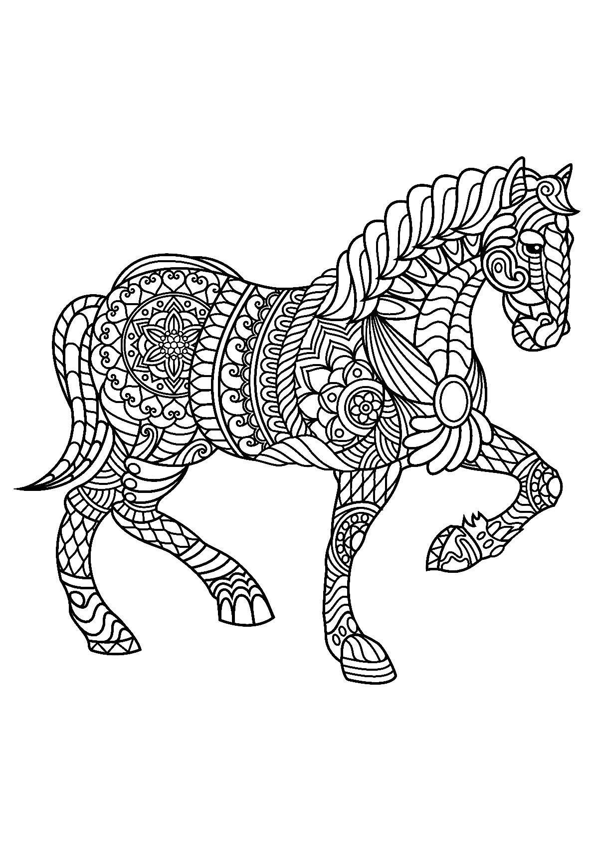 kids horse coloring pages horse with patterns free to color for children horses pages horse kids coloring