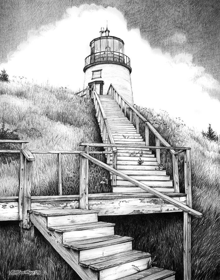 lighthouse drawing cape disappointment lighthouse drawing by lawrence tripoli lighthouse drawing