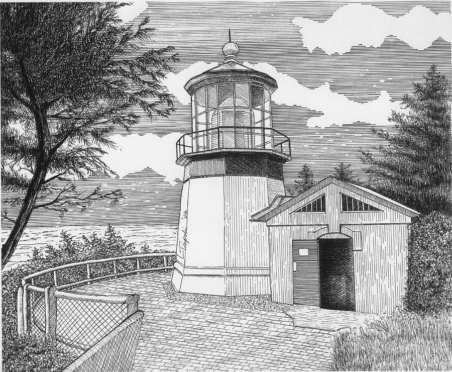 lighthouse drawing coquille river lighthouse drawing by lawrence tripoli lighthouse drawing