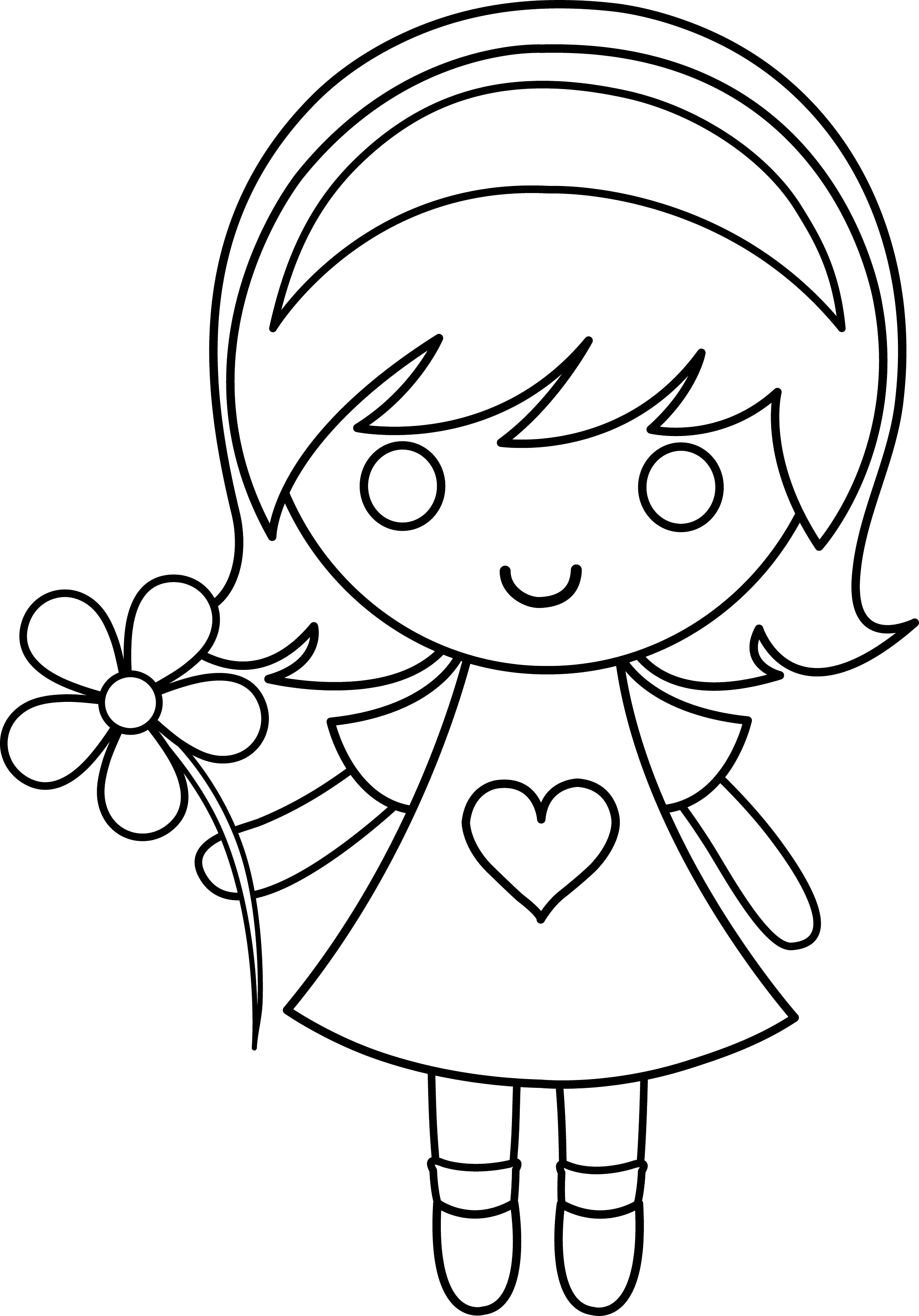 little girl coloring pictures daisy girl colorable line art free clip art girl little coloring pictures
