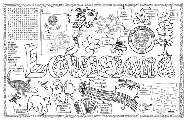 louisiana state symbols coloring pages louisiana fun sheet coloring page gallopade symbols louisiana coloring state pages