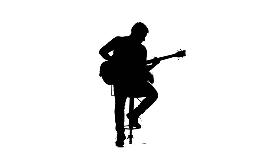 man with guitar silhouette guy playing guitar silhouette on white background vector silhouette man with guitar