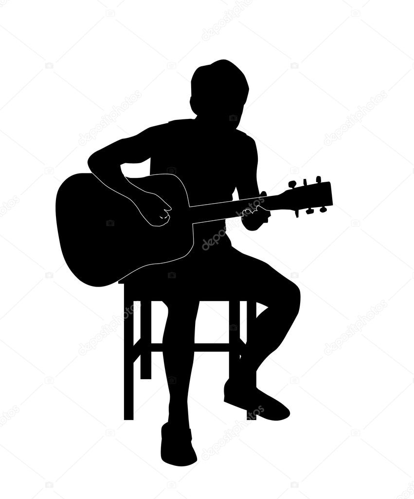 man with guitar silhouette playing guitar man silhouette illustration 63833608 guitar silhouette man with