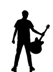man with guitar silhouette silhouette of a young man walking with a guitar alpha guitar man silhouette with
