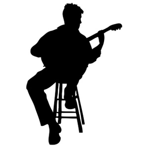 man with guitar silhouette silhouette of a young man walking with a guitar side view silhouette man guitar with