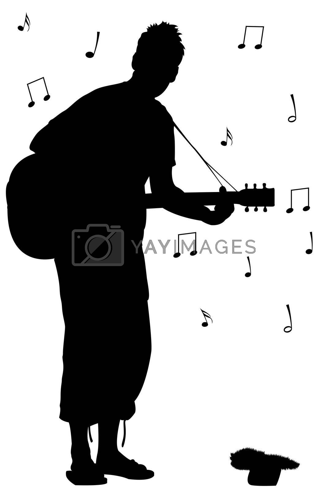man with guitar silhouette silhouette of man with electric guitar stock illustration with silhouette guitar man