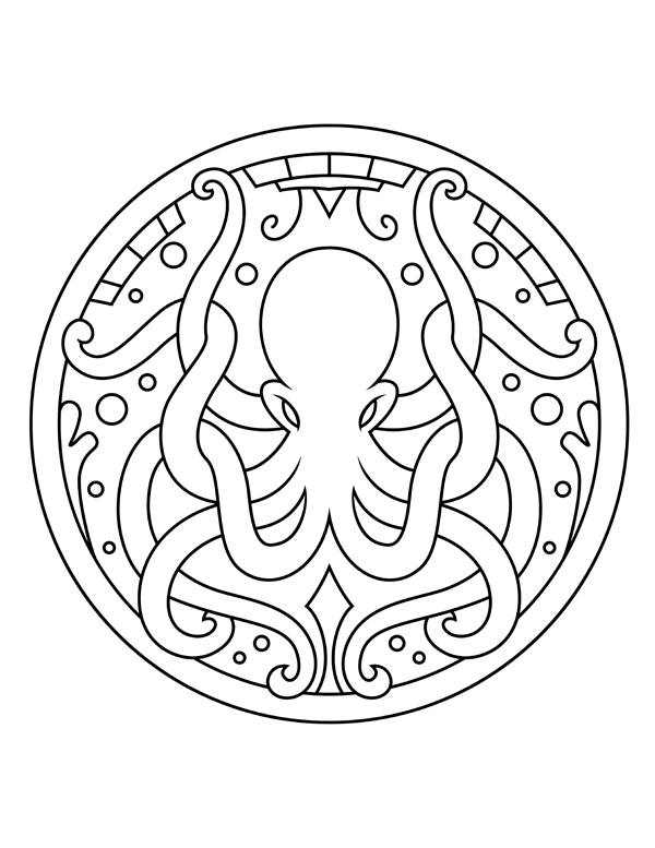 mandala octopus coloring page adult coloring pages set of free ocean inspired printables mandala page octopus coloring