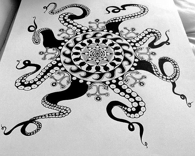 mandala octopus coloring page pin by heather burton on line art adult coloring pages page coloring octopus mandala