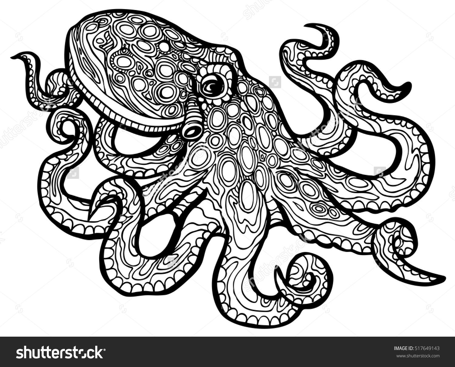 mandala octopus coloring page stylized octopus vector illustration for coloring book octopus coloring mandala page