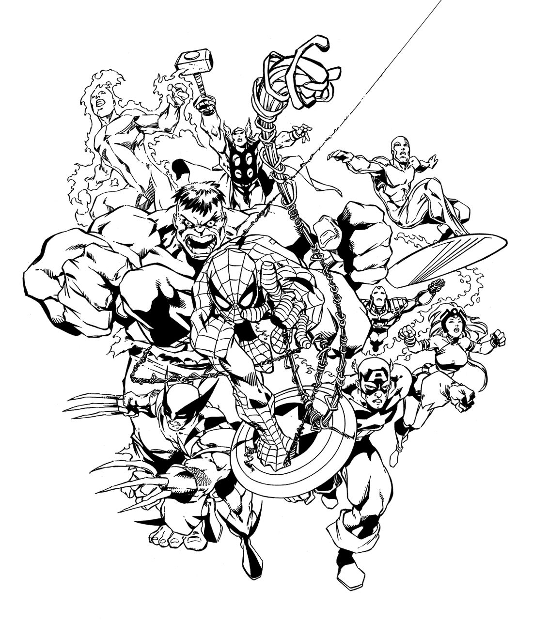 marvel avengers coloring pages marvel heroes by carlos pacheco avengers coloring coloring pages avengers marvel