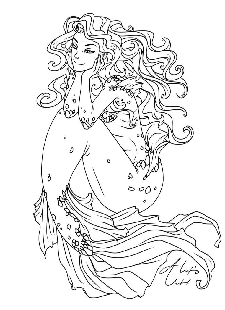mermaid color mermaid coloring pages for adults best coloring pages mermaid color 1 1