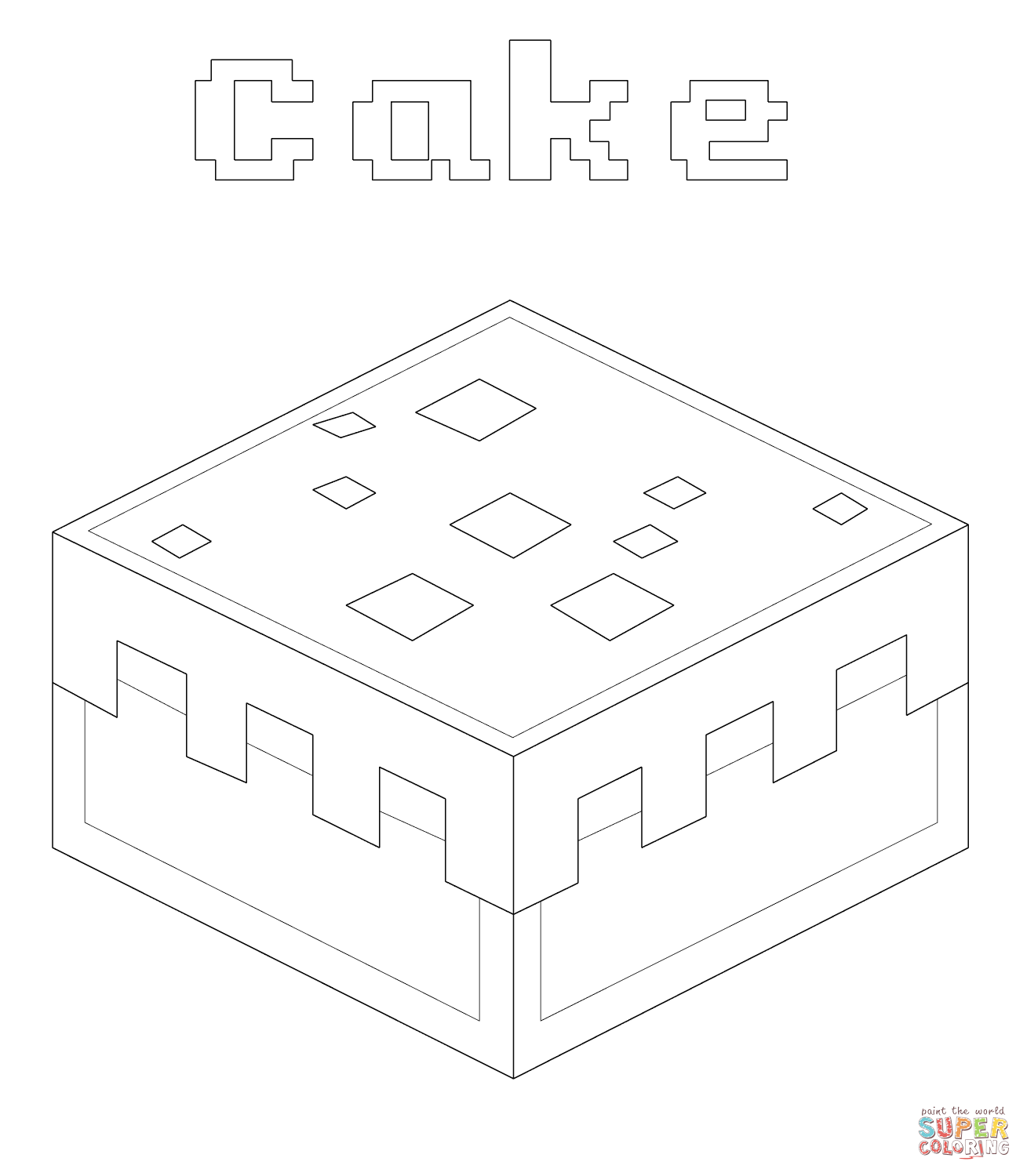 minecraft cake coloring pages fun galleons lap cake minecraft coloring pages