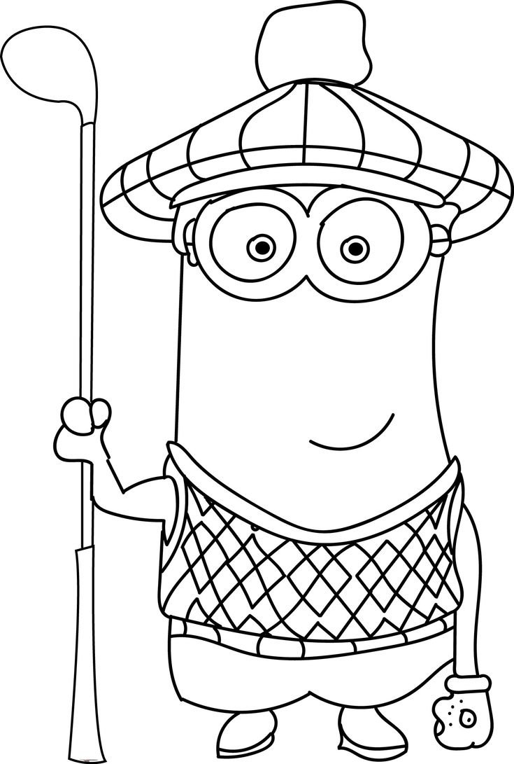 minion golf coloring page leuk voor kids ready for golf minion page golf coloring
